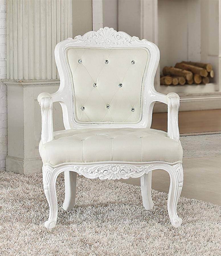 Awesome Crystal Tufted White Leatherette Accent Chair Set 2Pcs Acme Furniture 59130 Pascal Gmtry Best Dining Table And Chair Ideas Images Gmtryco