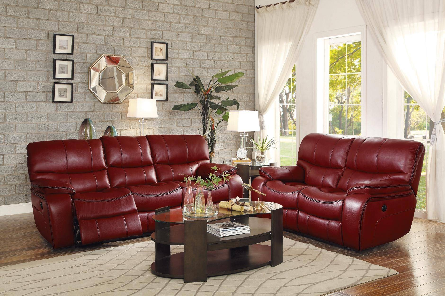 Homelegance 8480RED-PW Pecos Red Leather Gel Power Reclining ...