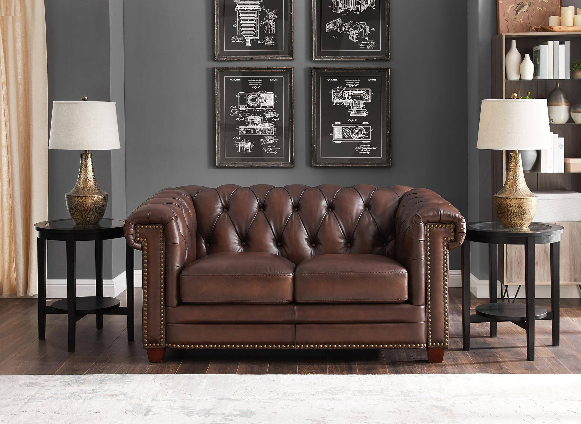Dark Brown STANWOOD Genuine Leather Sofa Set 3Pcs HYDELINE ...