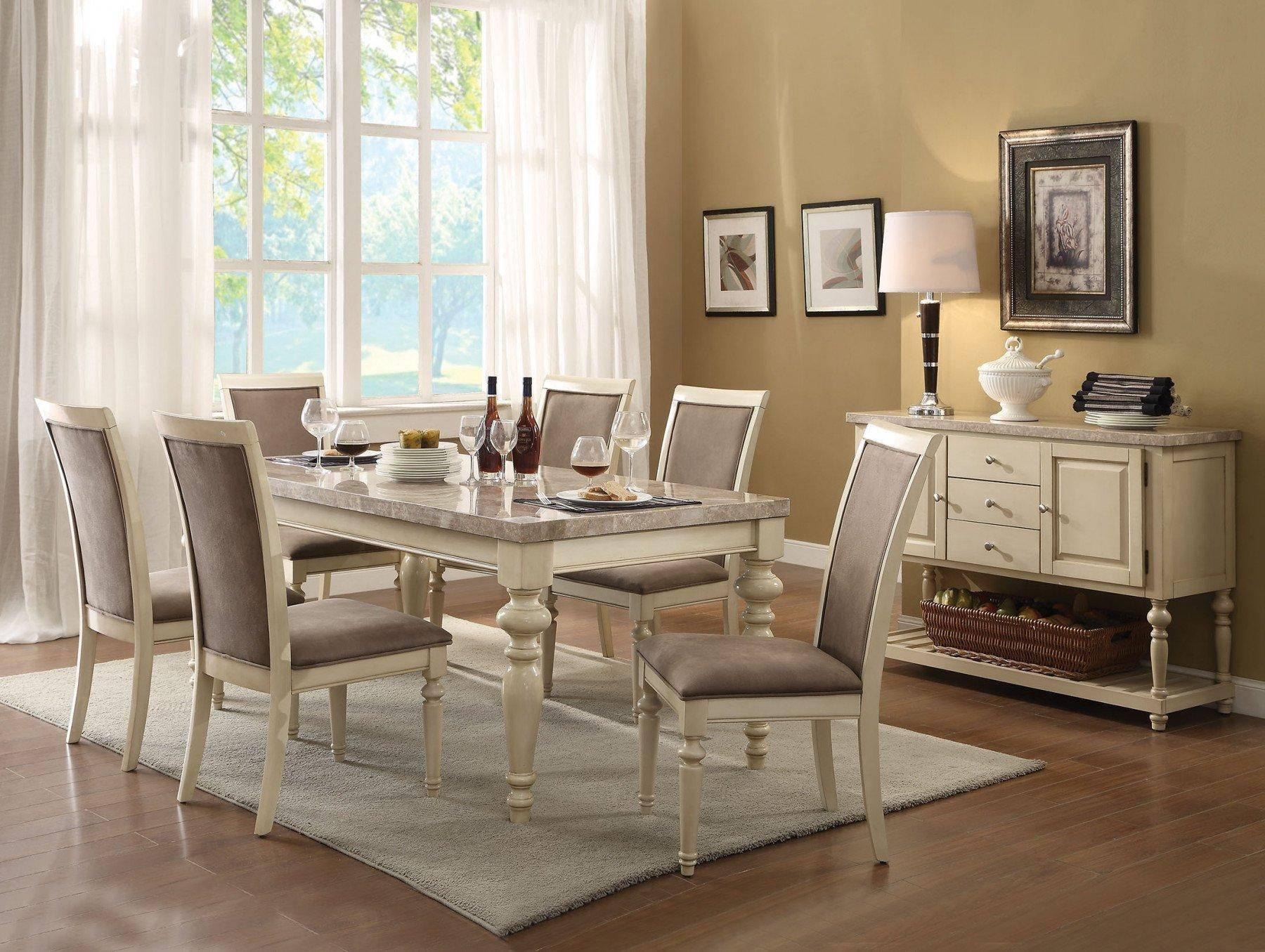 Acme 71705 Ryder Antique White Marble Top Dining Table Set