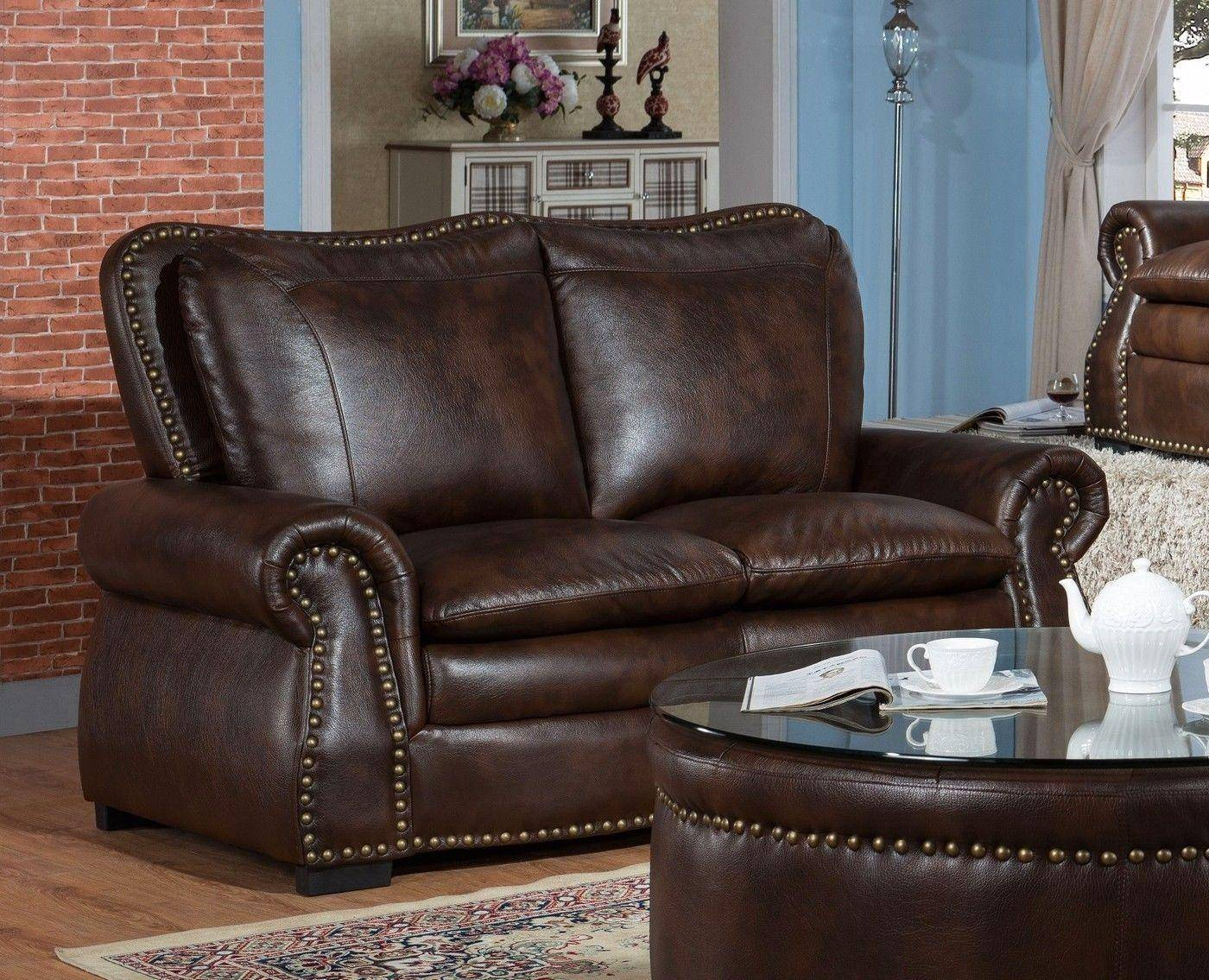 McFerran SF5507 Brown Premium Leather Air Fabric Sofa ...