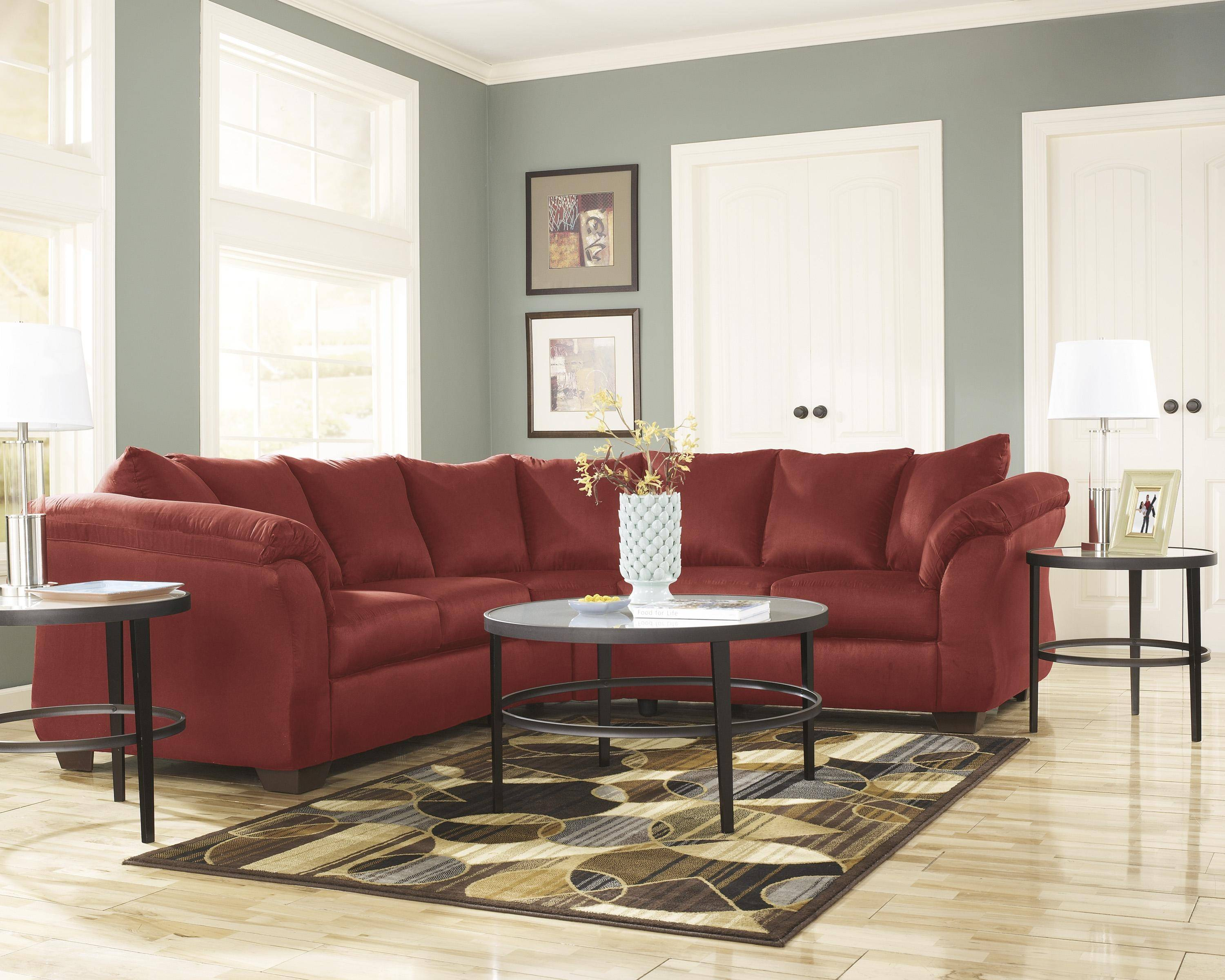 Prime Ashley Darcy 2 Piece Sectional In Salsa 75001 55 56 Kit Gmtry Best Dining Table And Chair Ideas Images Gmtryco