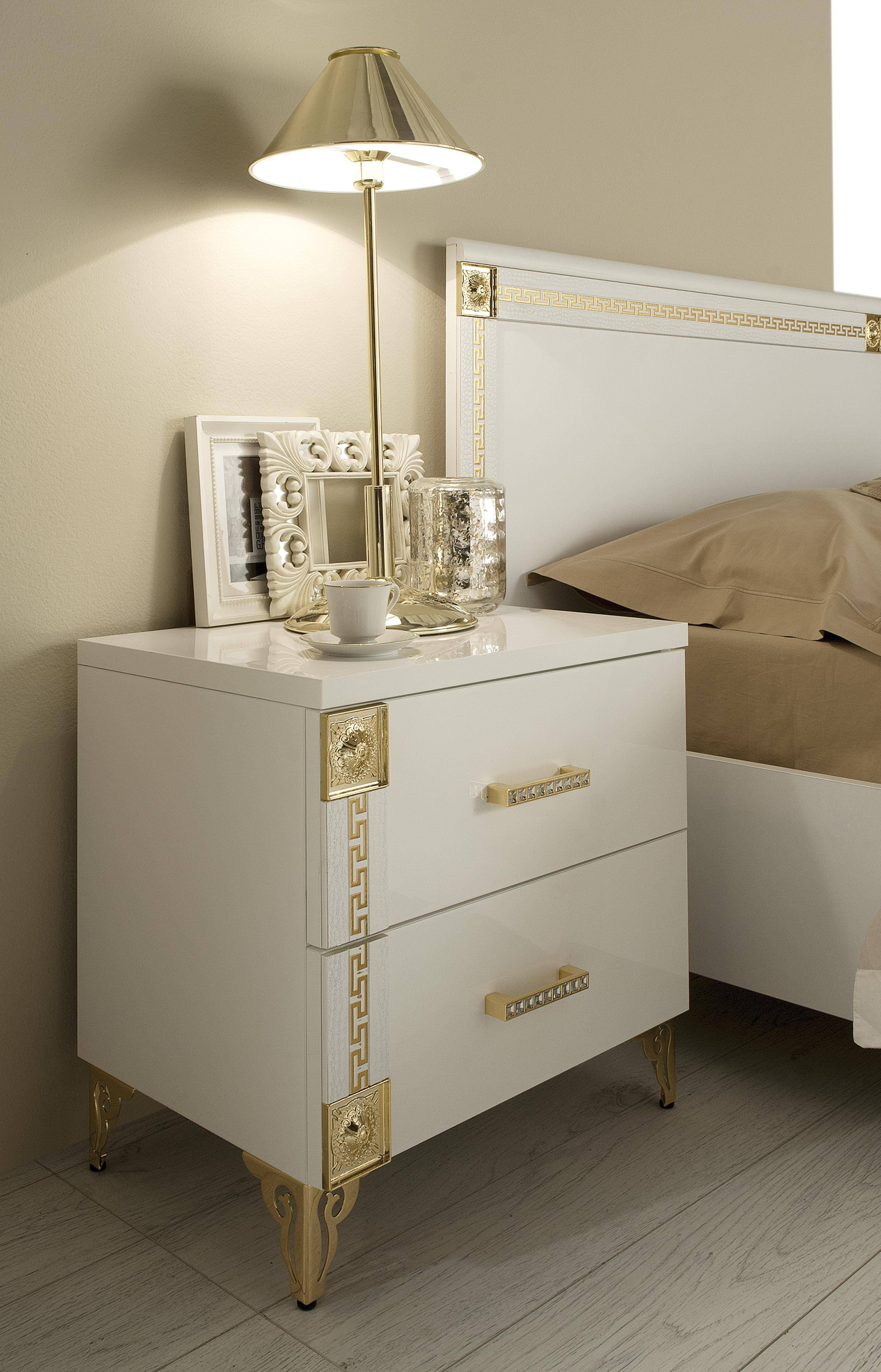 Esf Venice Luxury White Gold Queen Bedroom Set 3pcs Contemporary Made In Italy Esf Venice Q Set 3