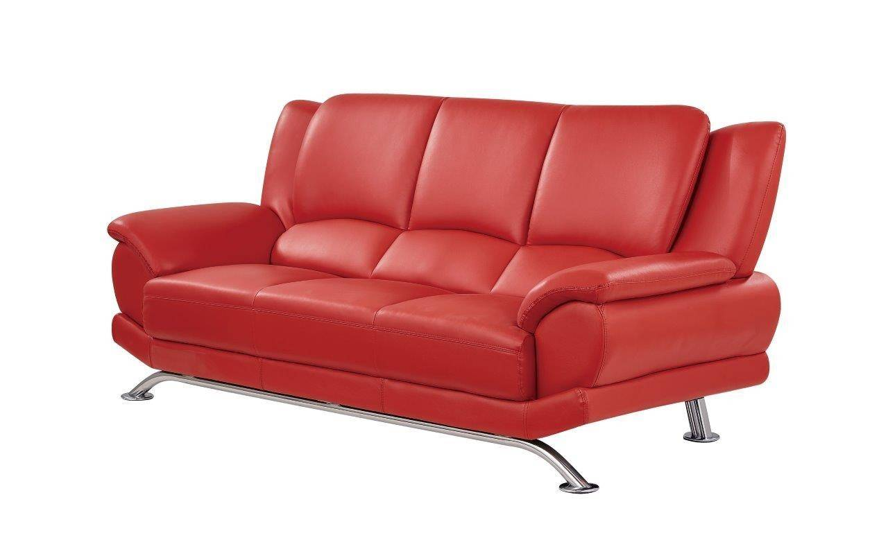 Global Furniture U9908 R Contemporary Red Leather Gel Living ...