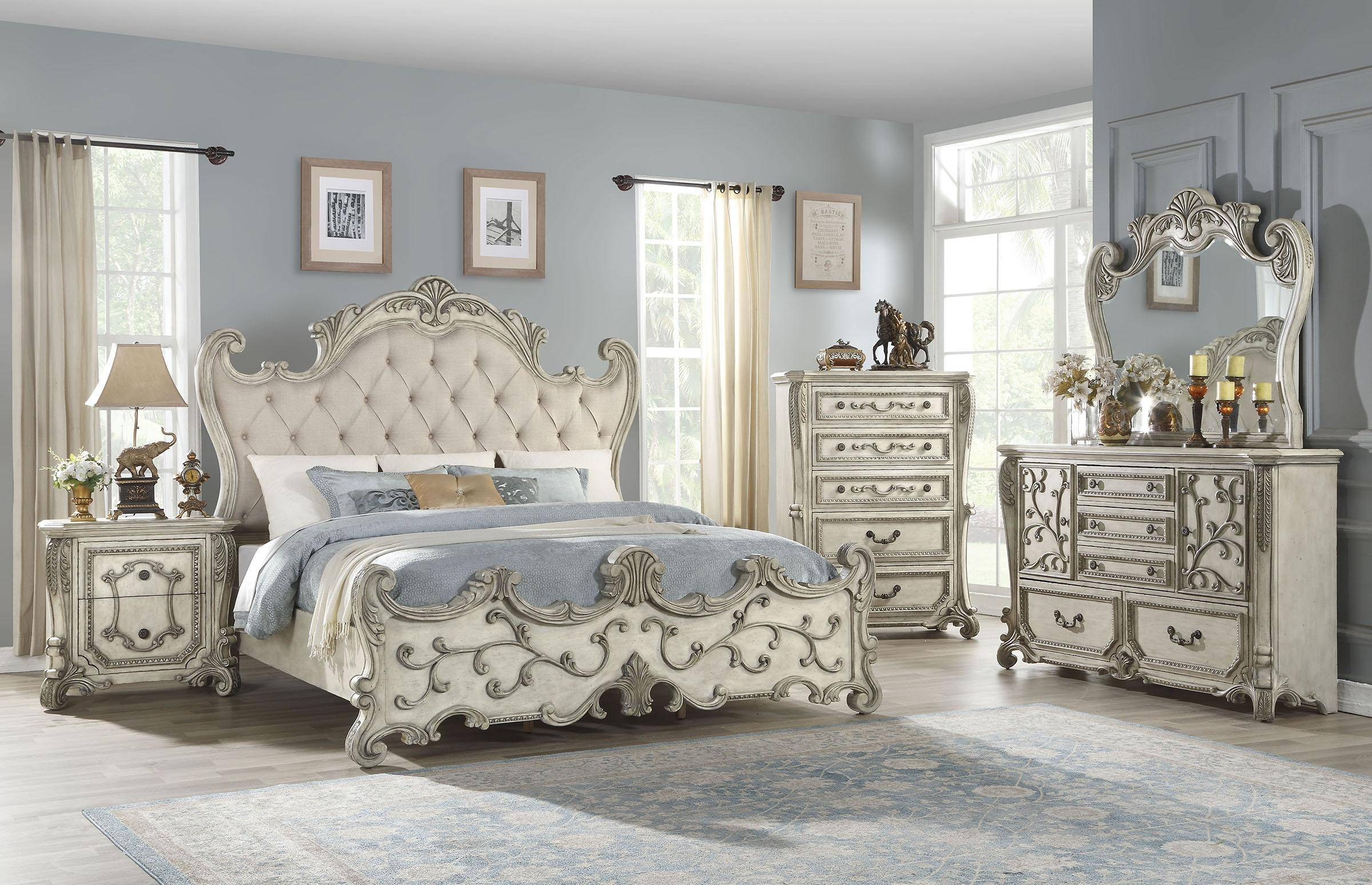 Luxury Queen Bedroom Set 5p W Chest Antique White Fabric 27180q