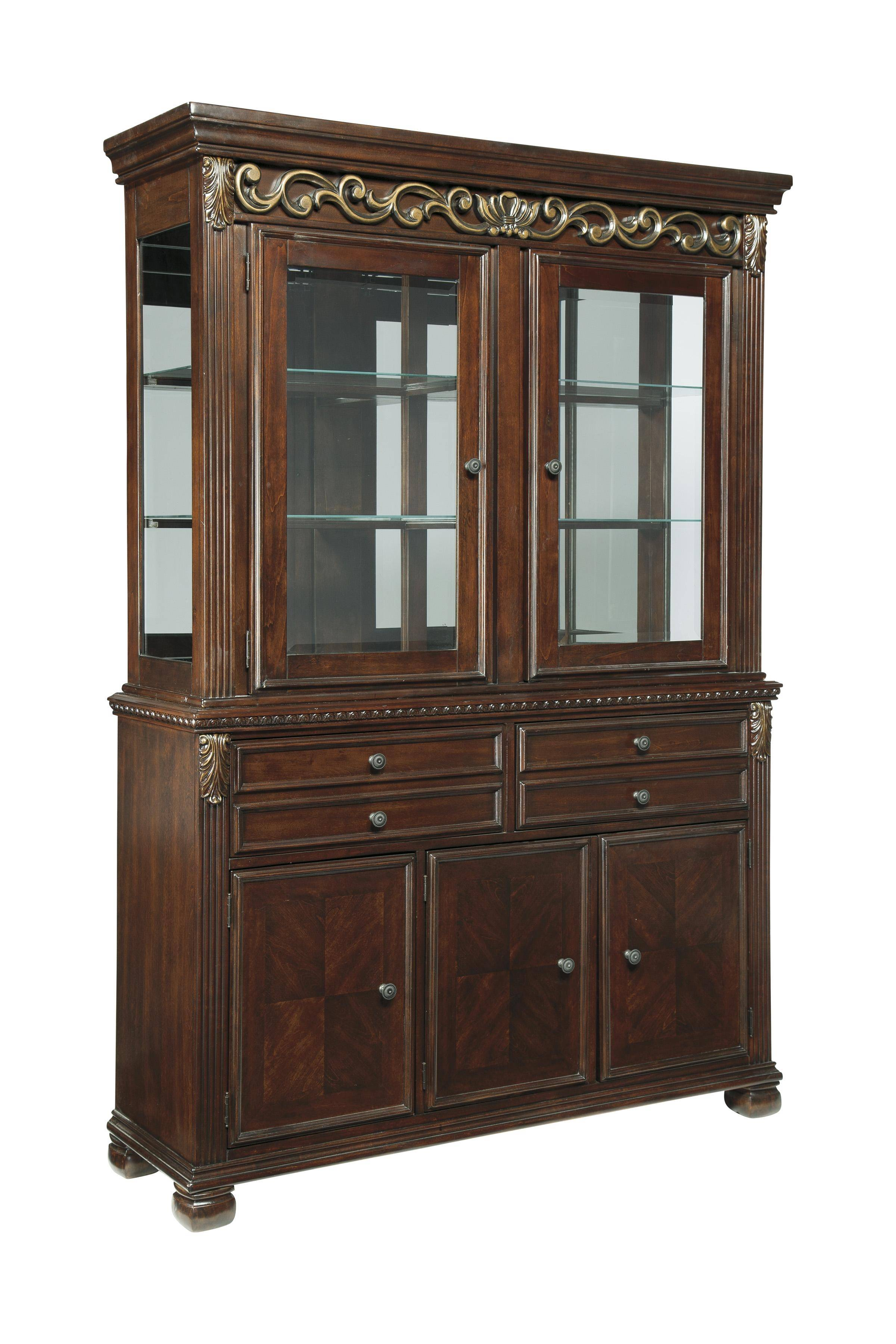Ashley Leahlyn D626 Dining Room Set 9pcs In Reddish Brown With Hutch For Sale