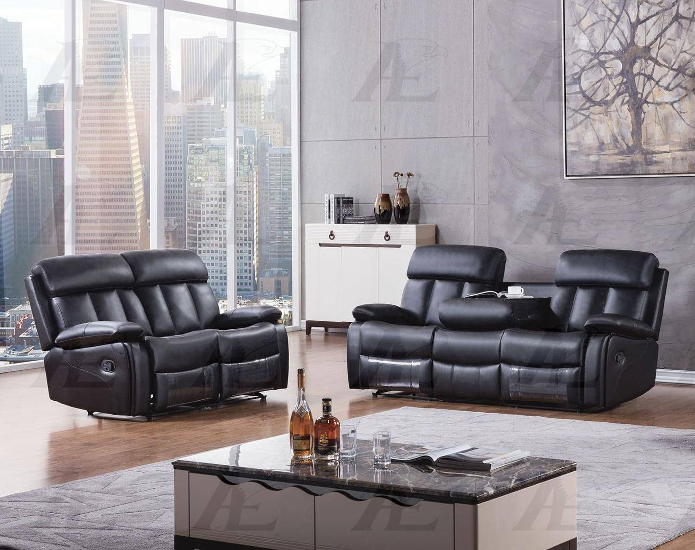 american eagle aed825 black faux leather recliner sofa