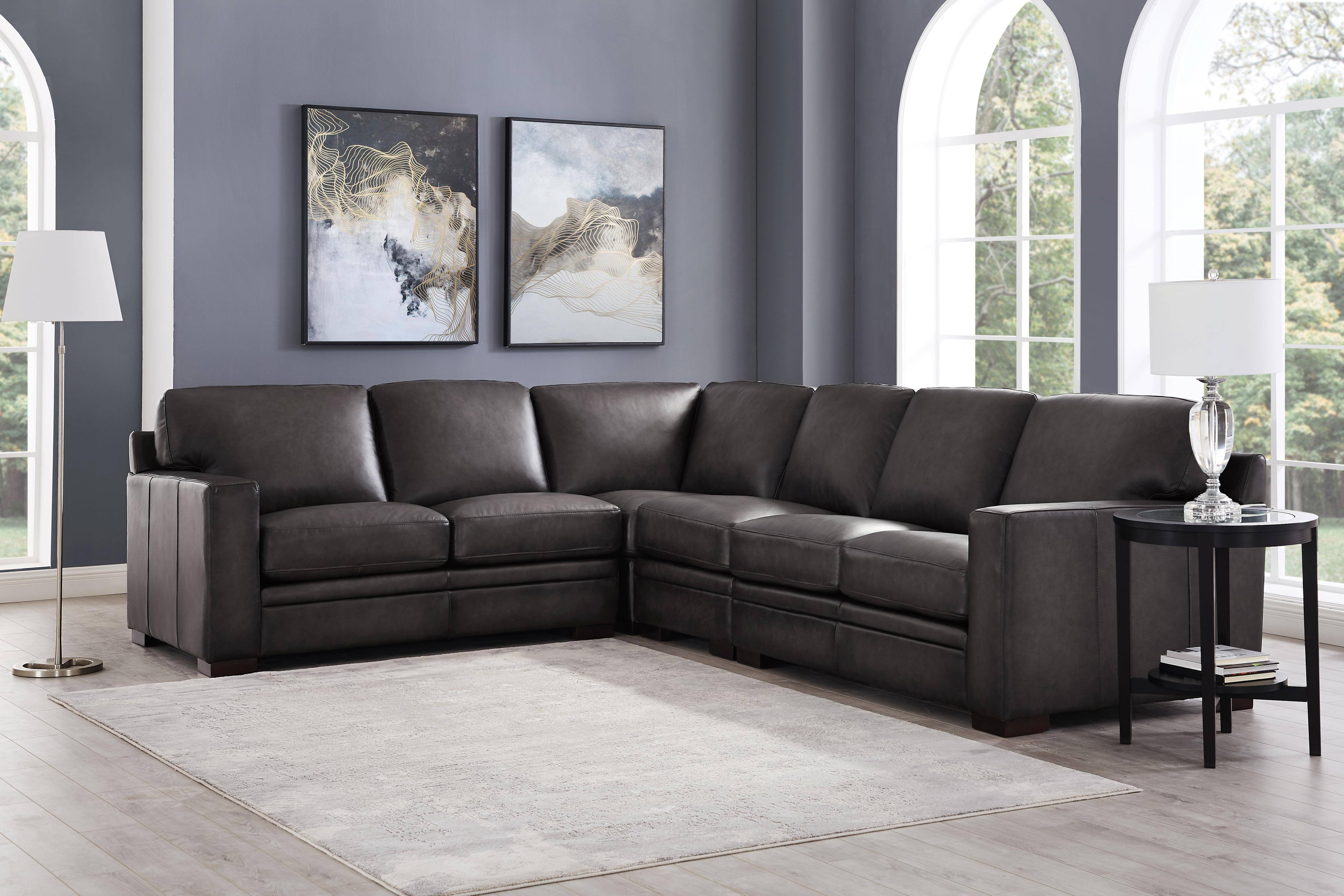 Gray Top Grain Leather Sectional Sofa