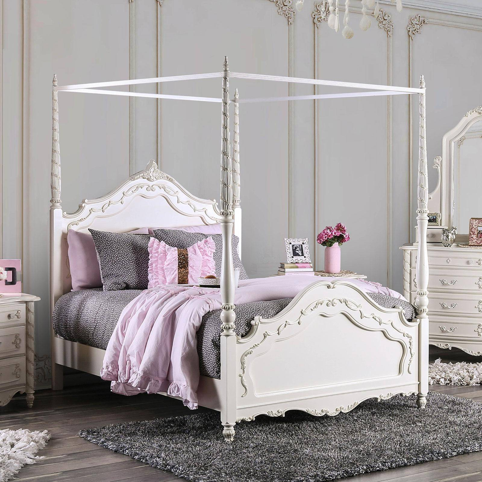 Traditional Wood Twin Canopy Bed In White Victoria By Furniture Of America Cm7519t Bed