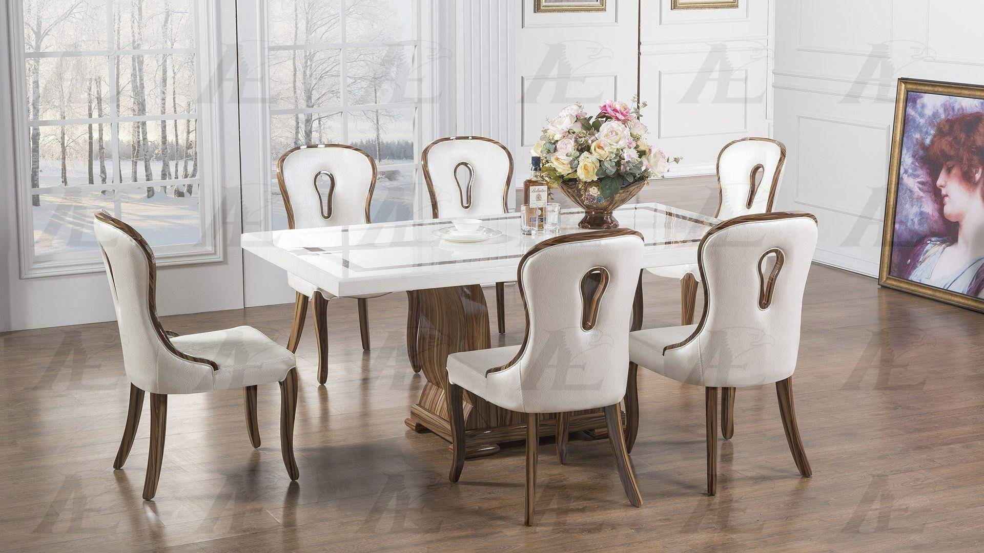 American Eagle Furniture Dt H102 Luxury White Marble Top Dining Table White Chairs 5 Pcs Dt H102 Ck H2117 Set 5pcs