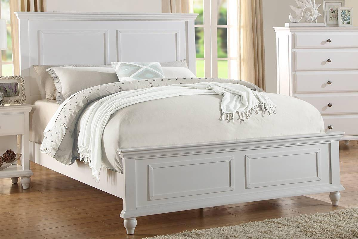 the latest 657a3 bdd89 Modern White Wood Eastern King Bed F9270 Poundex