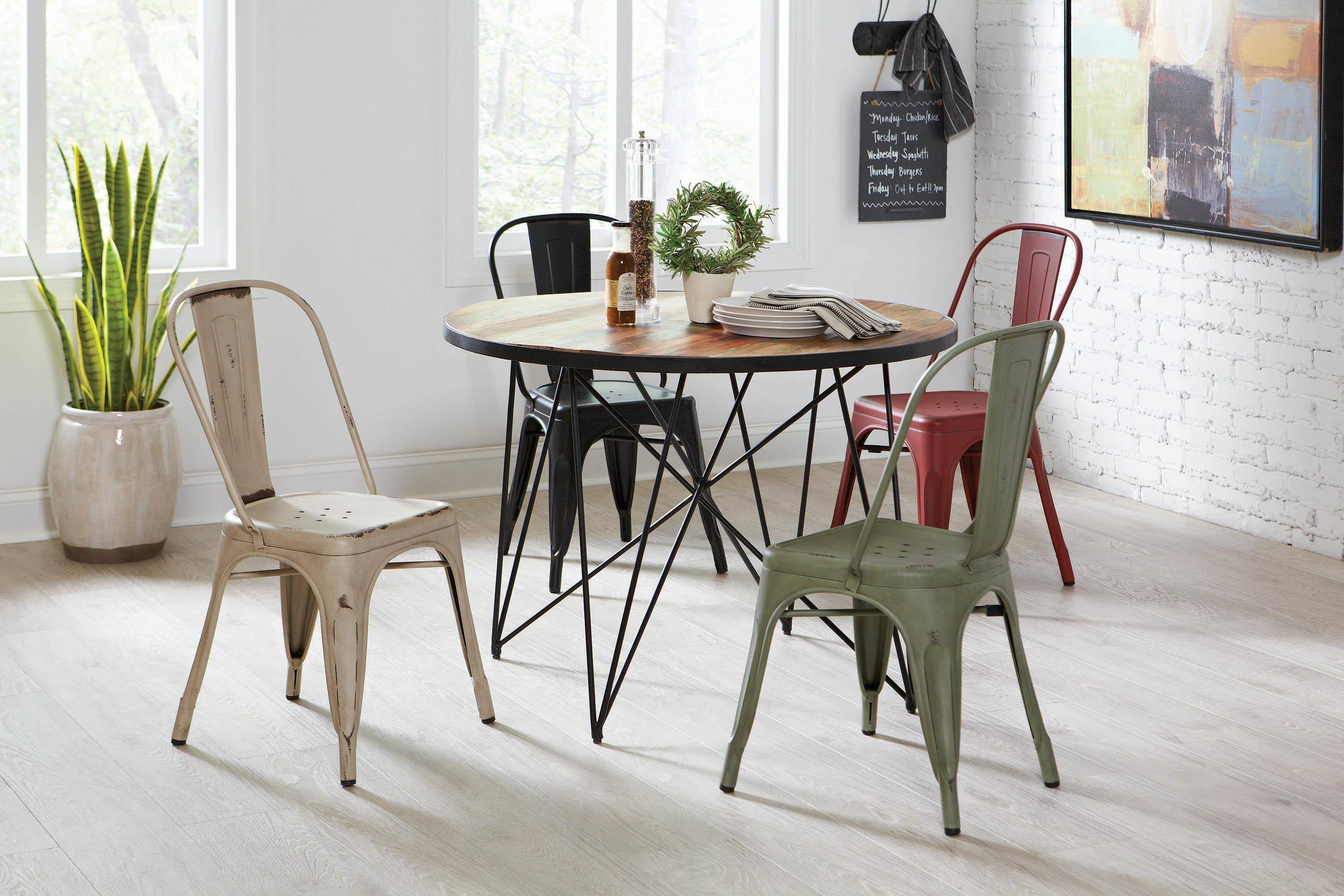 Peachy Modern Black Metal Dining Chair Set 4 Pcs Highland By Squirreltailoven Fun Painted Chair Ideas Images Squirreltailovenorg