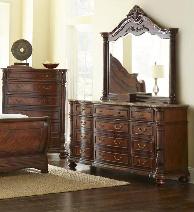 Luxury Bedroom Furniture Stores: Jasper Luxury King Cherry Sleigh Bed Marble 5 Pc Bedroom
