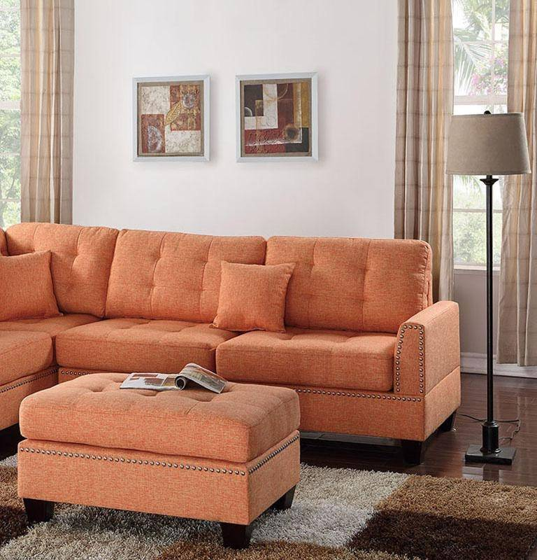 Roomstore Furniture Store: Modern Orange Fabric Upholstered 3-Pcs Sectional Sofa Set