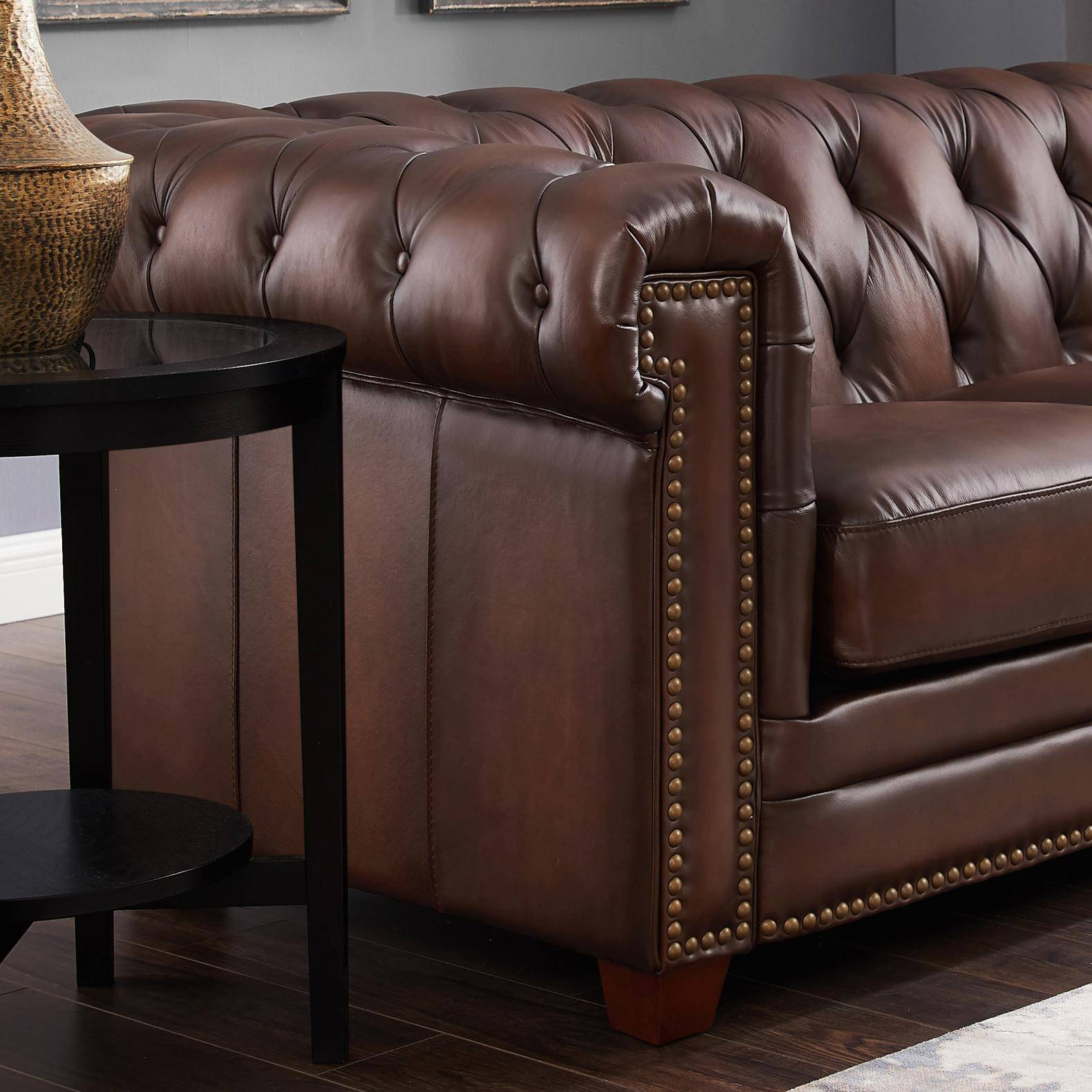 Brilliant Dark Brown Stanwood Genuine Leather Sofa Loveseat Set 2P Ibusinesslaw Wood Chair Design Ideas Ibusinesslaworg