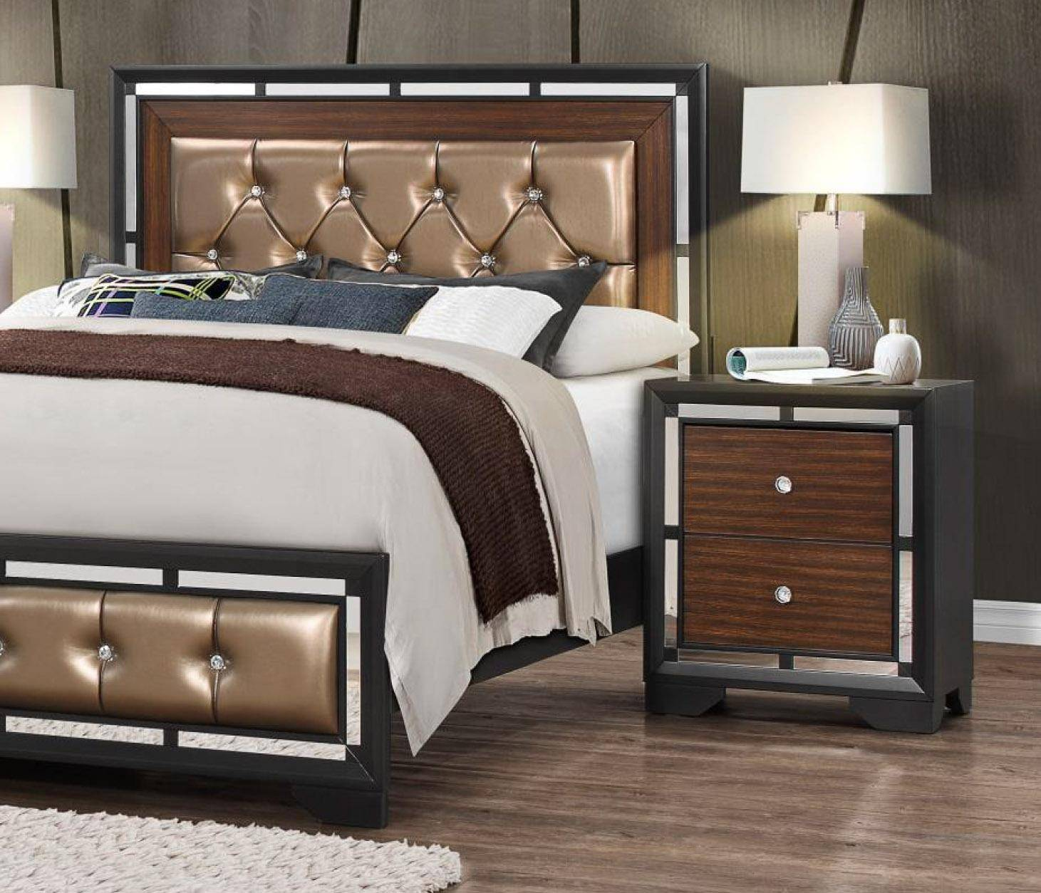 global furniture camila modern dark grey finish wood accents queen rh nyfurnitureoutlets com