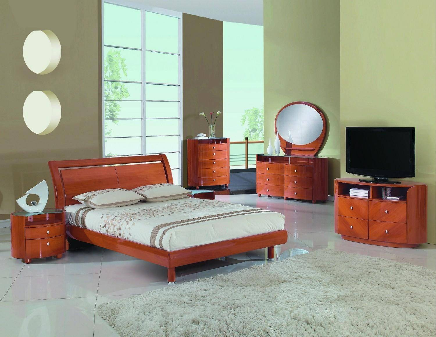 Picture of: Contemporary Cherry High Gloss Finish King Bedroom Set 5pcs Cosmo Global United Cosmo Set Cherry Ek Set 5
