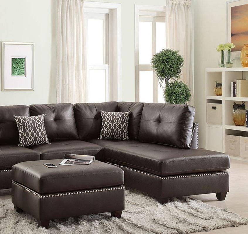 Brown Bonded Leather Sectional Sofa Set F6973 Poundex ...