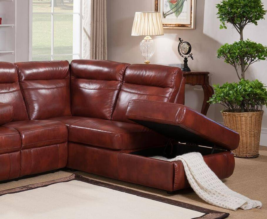 Magnificent Caramel Genuine Leather Reclining Sectional Sofa W Storage Amax Leather Hariston Beatyapartments Chair Design Images Beatyapartmentscom