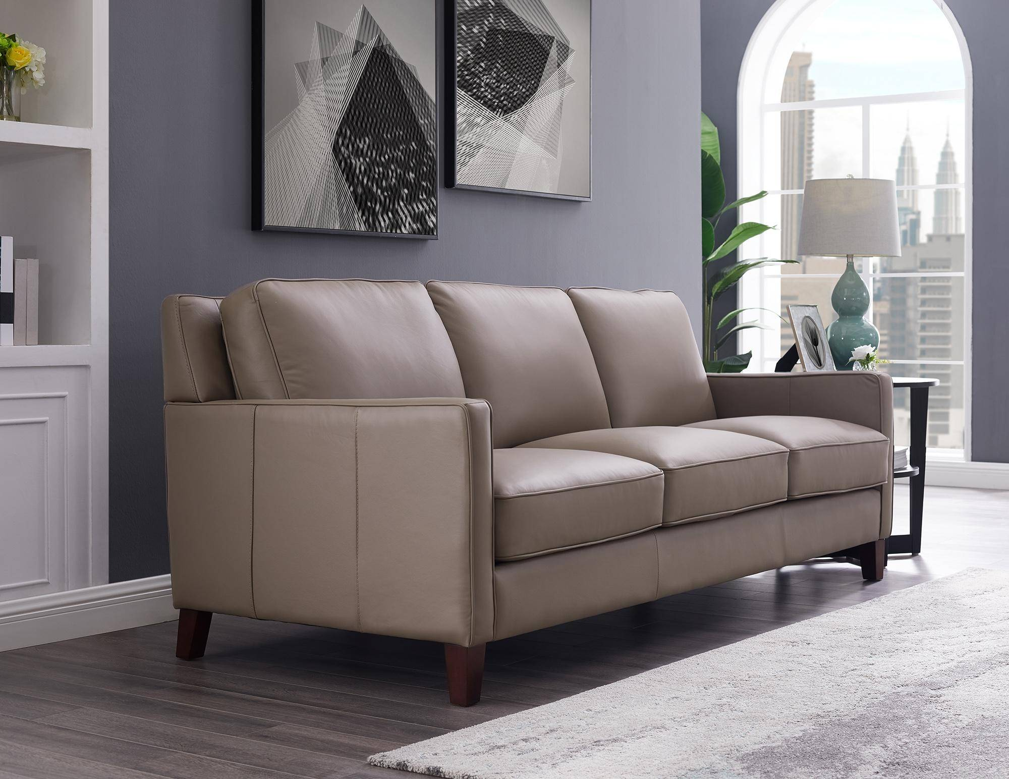 Taupe Top Grain Leather Sofa Chair Set