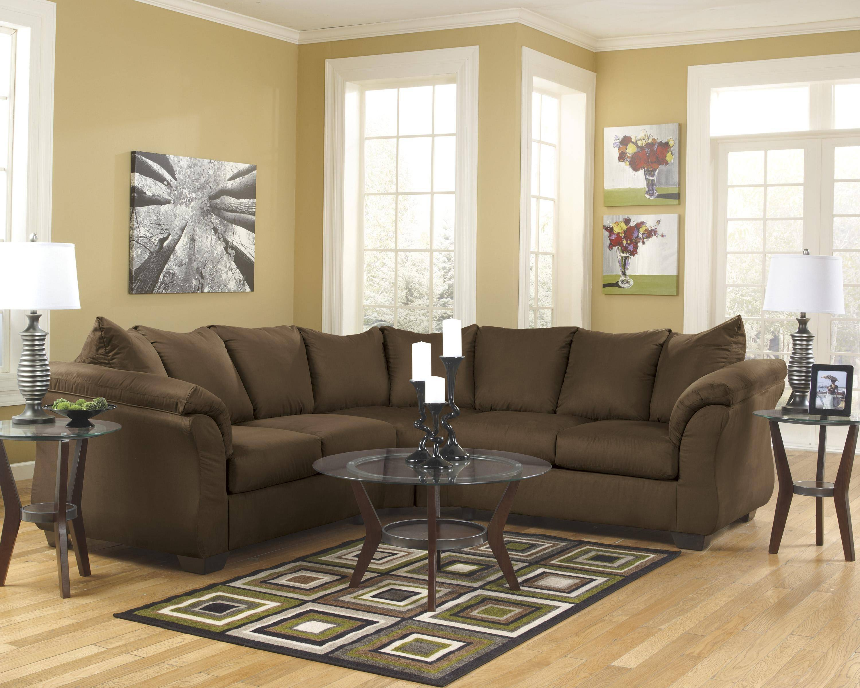 Astounding Ashley Darcy 2 Piece Sectional In Cafe 75004 55 56 Kit Buy Gmtry Best Dining Table And Chair Ideas Images Gmtryco