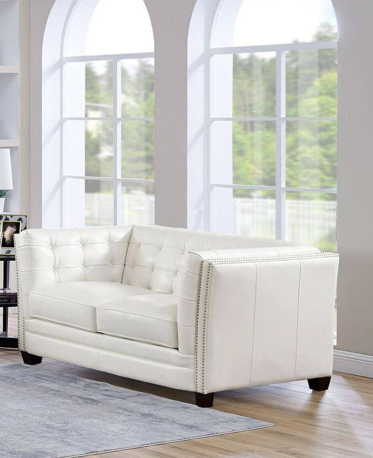 Top Grain Leather White Tufted Sofa Set