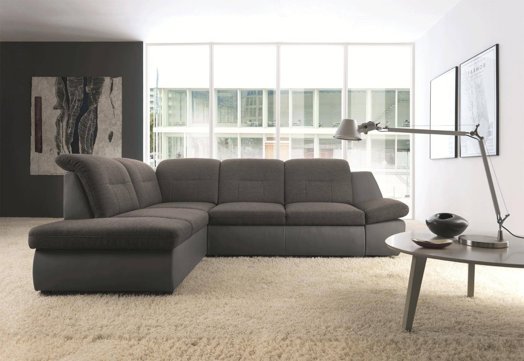 ESF Credo Chic Brown Fabric/Leather Sectional Sofa Bed w/Storage ...