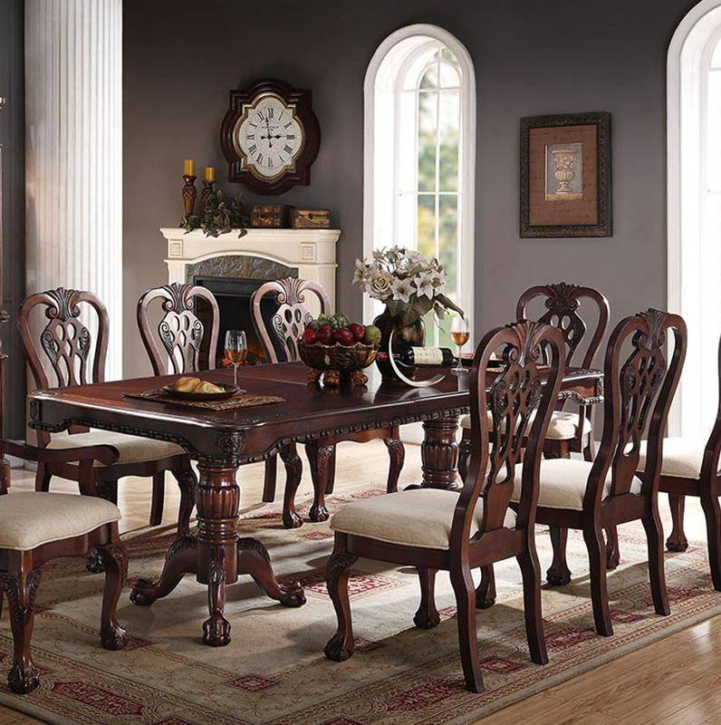 Cherry Finish Wood Dining Table F2198 Poundex Traditional