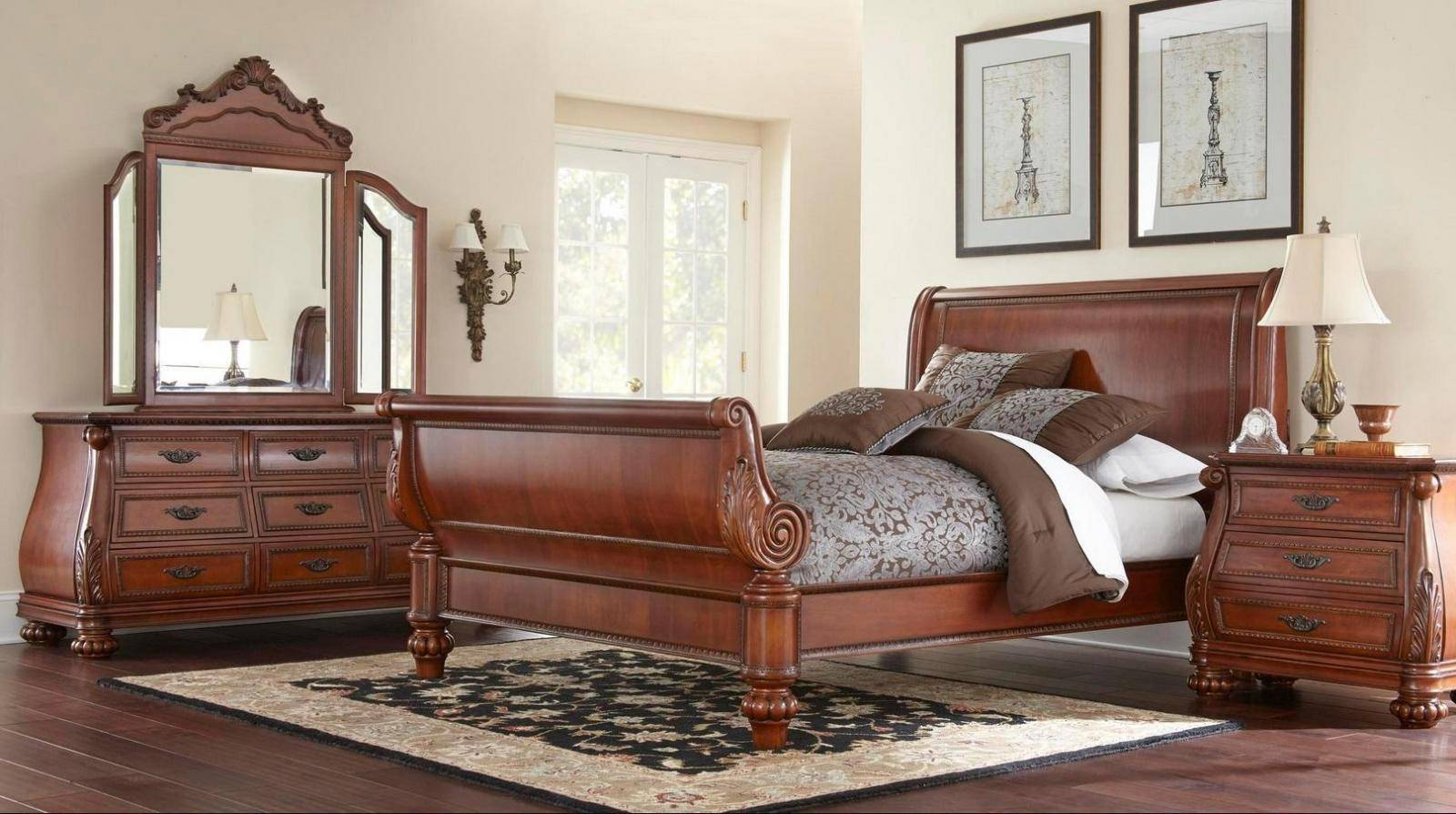 Soflex Stevie Cherry Brown Wood Queen Sleigh Bedroom Set ...