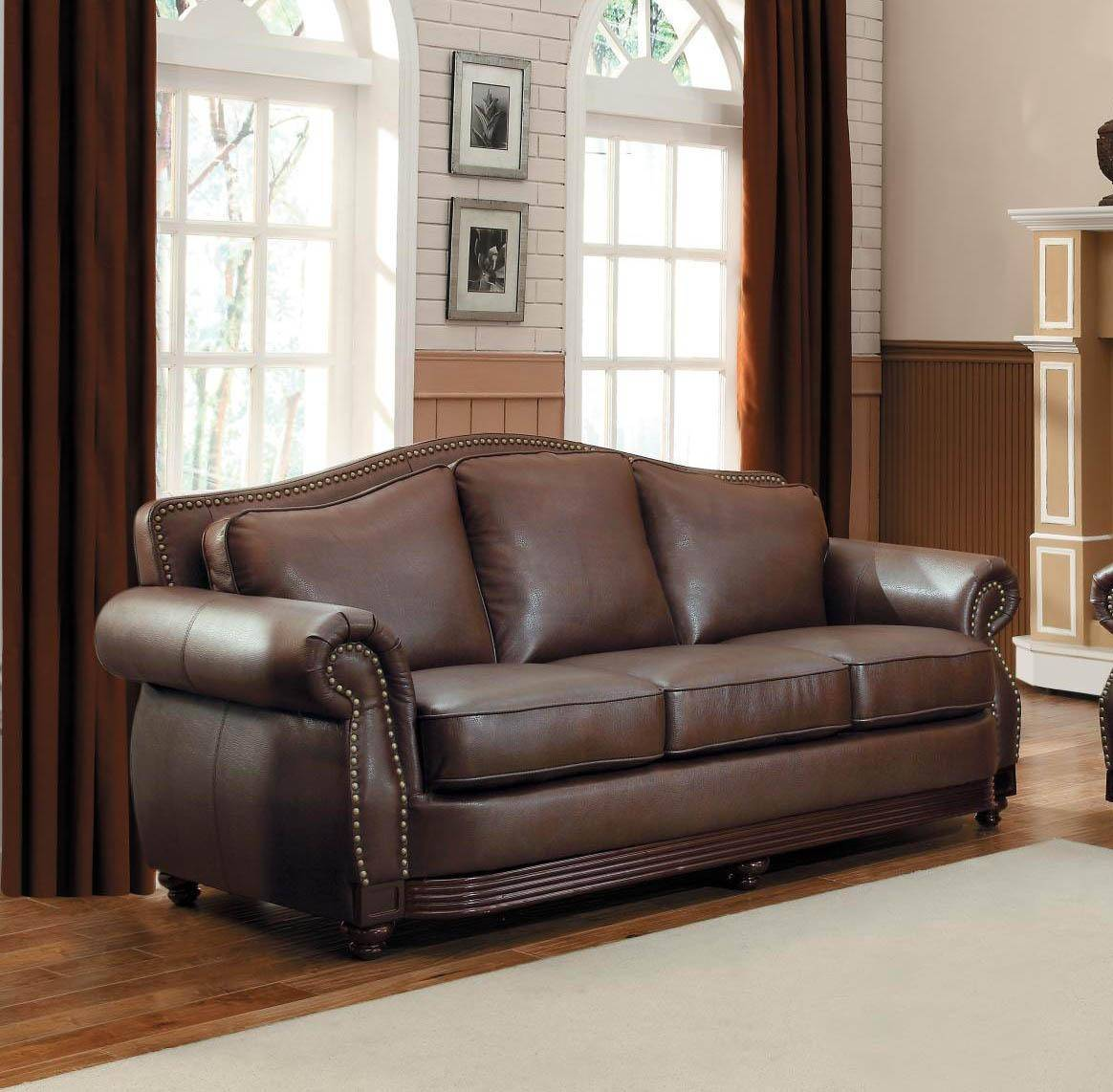 Homelegance 9616BRW-3 Midwood Brown Bonded Leather Sofa Set 2Pcs ...