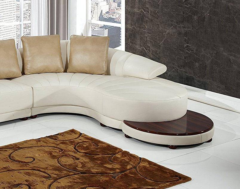 Global Furniture UFM208-SEC Modern Beige and White Bonded Leather Curved  Sofa & End Table