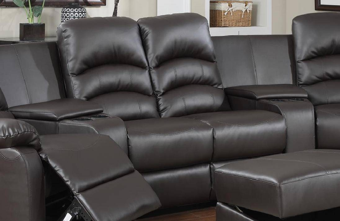 Ventura Reclining Brown Leather Sectional w/Ottoman Home ...
