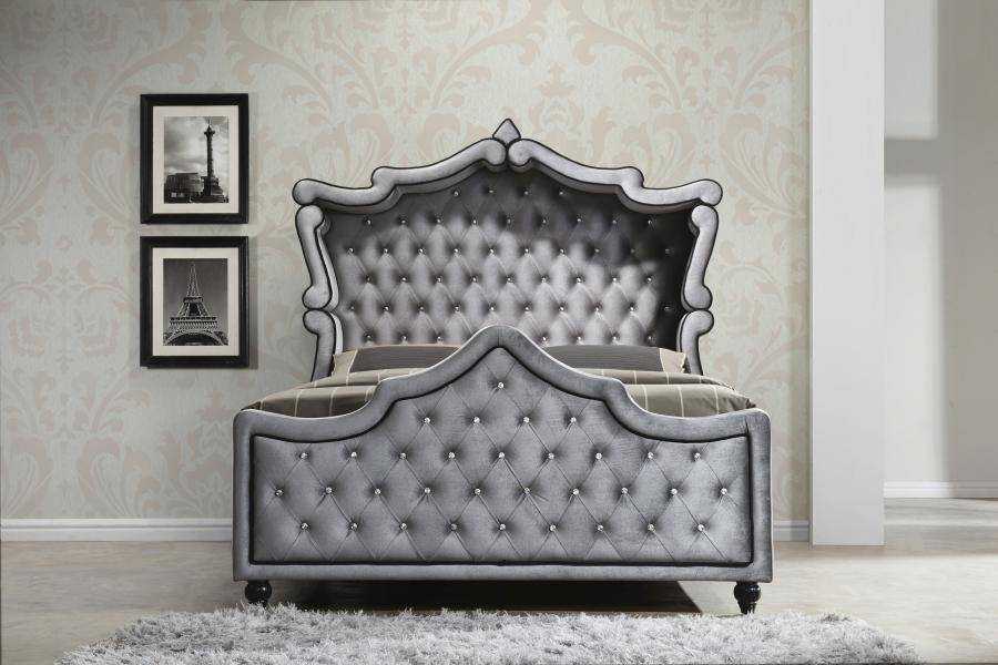 Canopy King Size Bed in Grey Velvet Contemporary Meridian ...