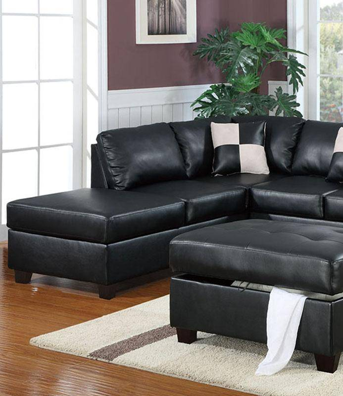 Sectional Sofa W/ Ottoman F7355 Black Bonded Leather