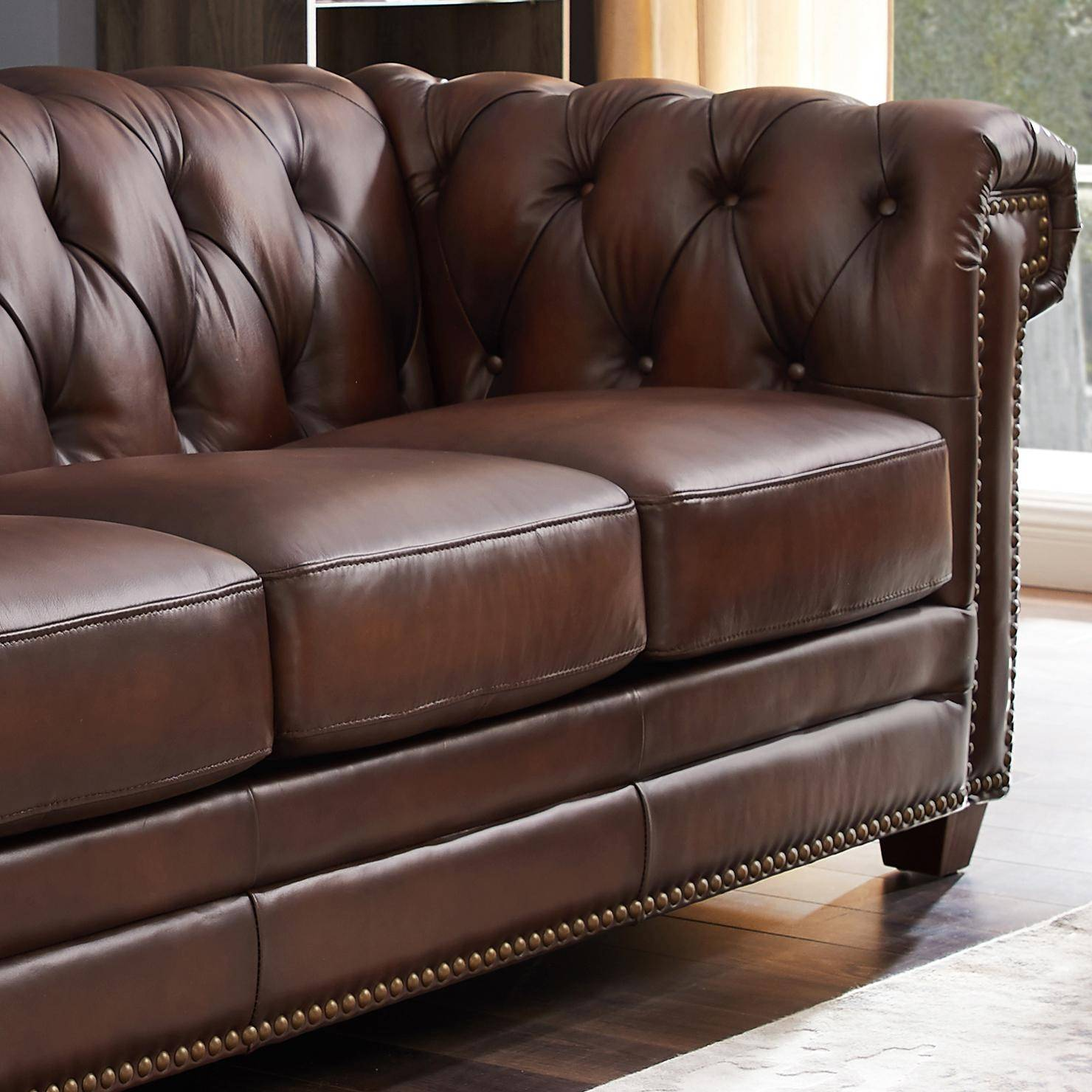- Dark Brown STANWOOD Genuine Leather Sofa Chair Set 3Pcs HYDELINE