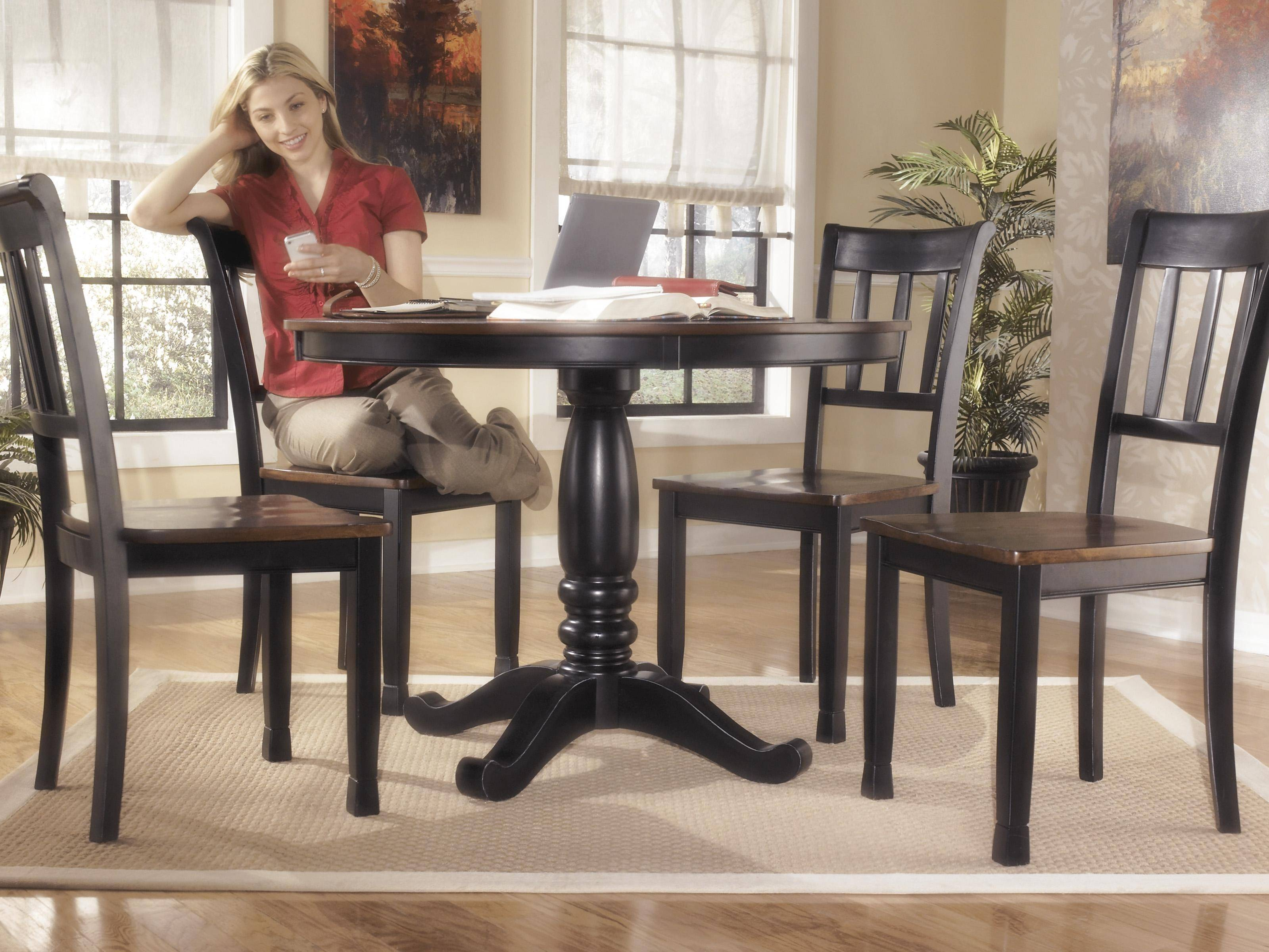 Ashley Owingsville D580 Dining Room Set 5pcs In Black Brown Round Table D580 15tb 02 4