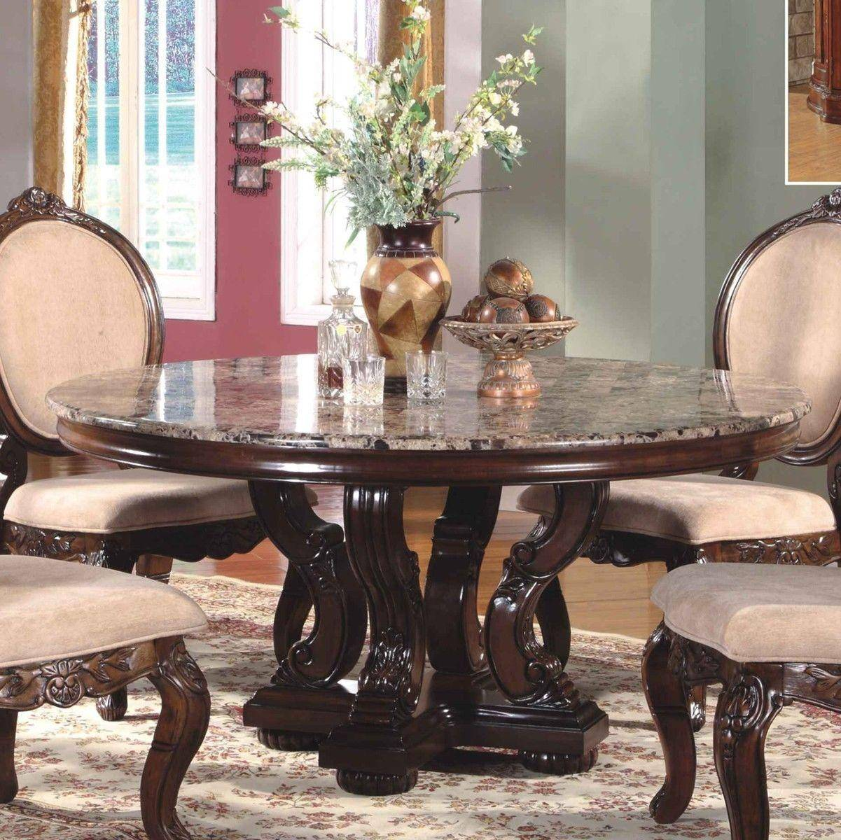 Mcferran RD0017-6060 Traditional Light Brown Marble Top Dining Room Set 5Pcs