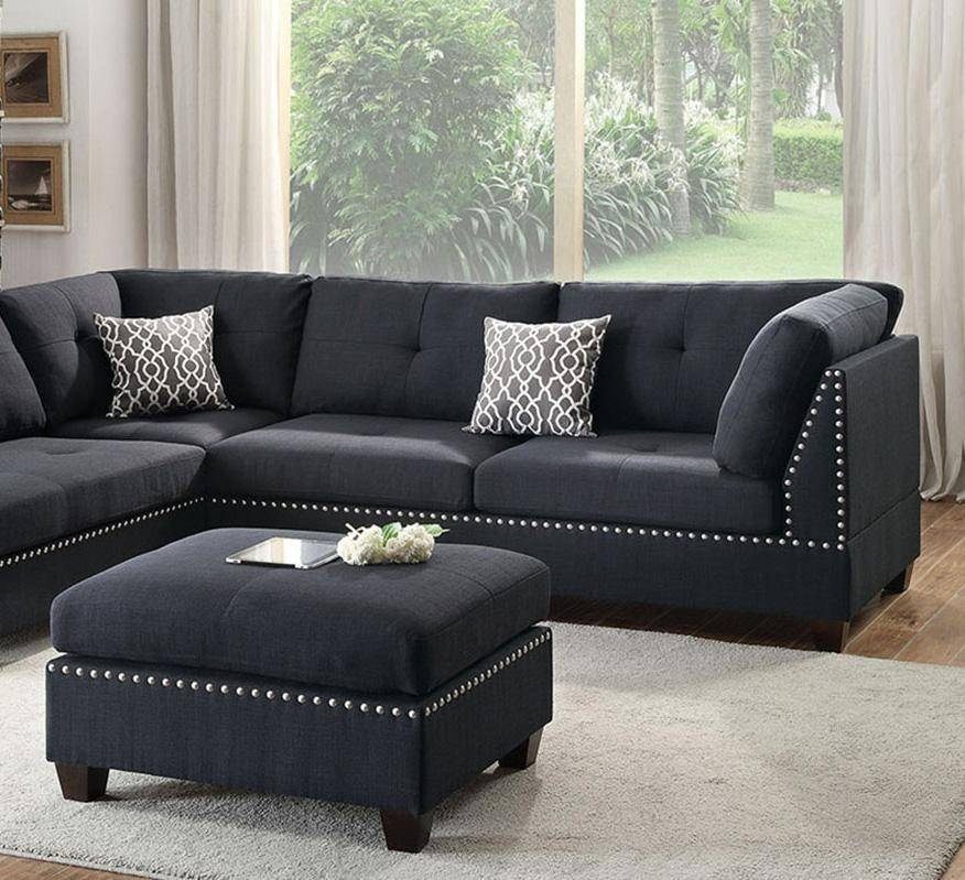 Peachy Black Fabric Sectional Sofa Set F6974 Poundex Modern Contemporary Evergreenethics Interior Chair Design Evergreenethicsorg