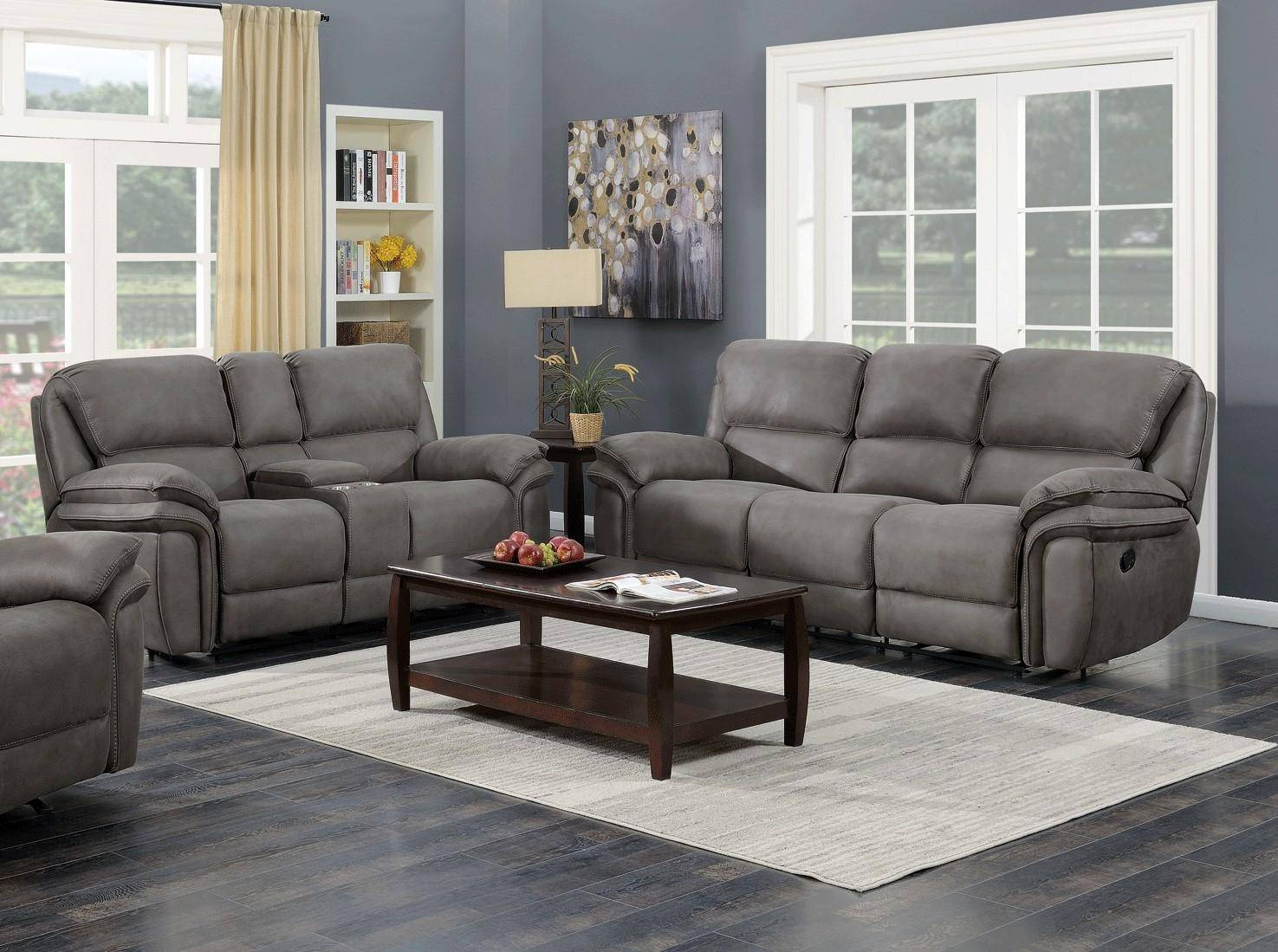 Contemporary Gray Faux Leather Living