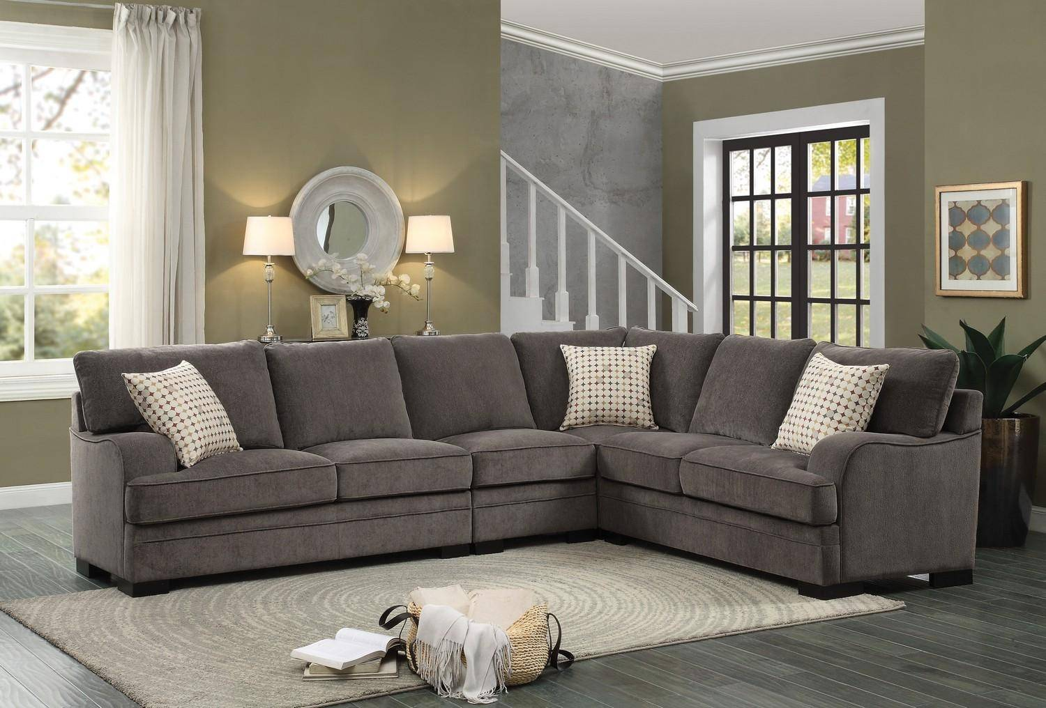 Homelegance 8335 Alamosa Brown Chenille Cover Sectional Sofa Set W