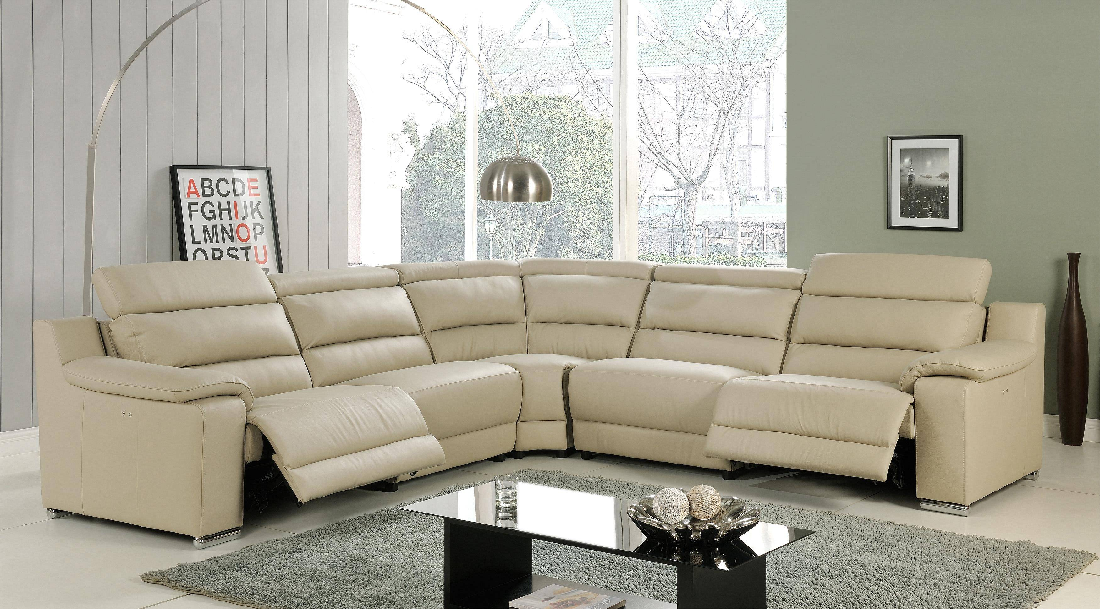 At Home Usa Elda Luxury Beige Italian Leather Sectional Recliner Contemporary Reviews Skuc52be