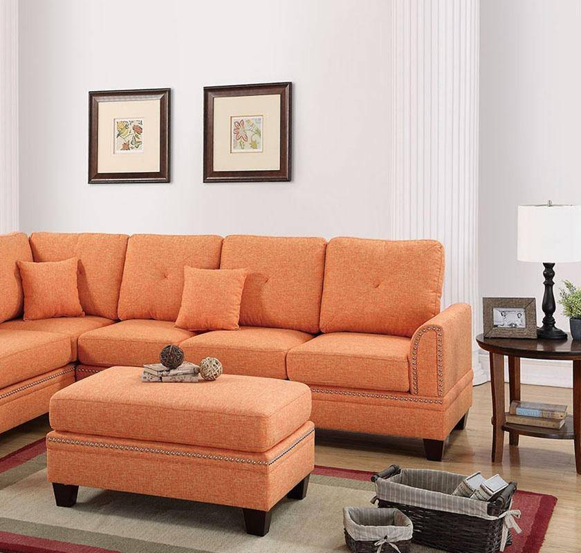 Super Orange Fabric Upholstered 2 Pcs Sectional Sofa Set F6514 Poundex Traditional Inzonedesignstudio Interior Chair Design Inzonedesignstudiocom