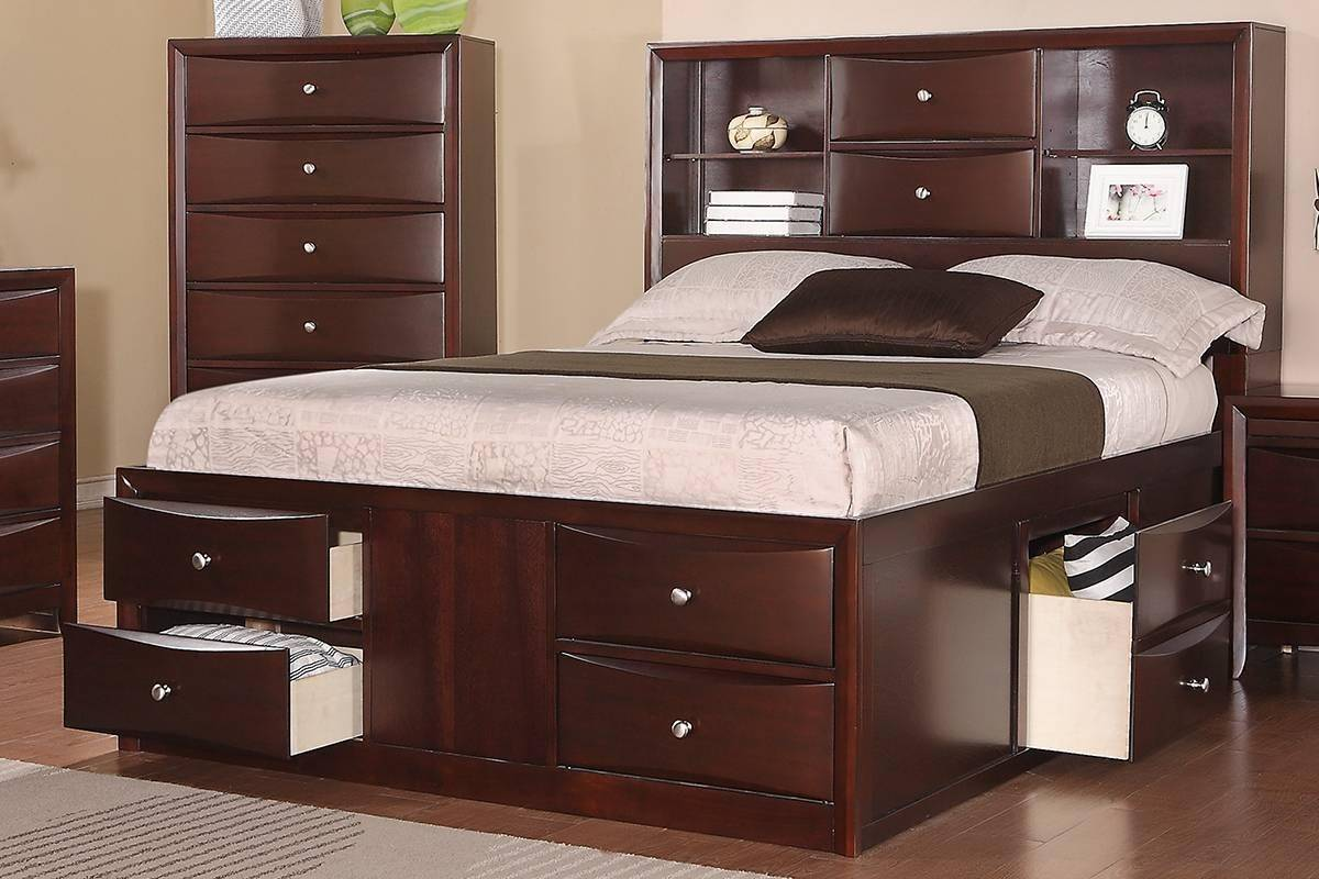 Brown Wood Queen Storage Bed F9234 Poundex Modern F9234q