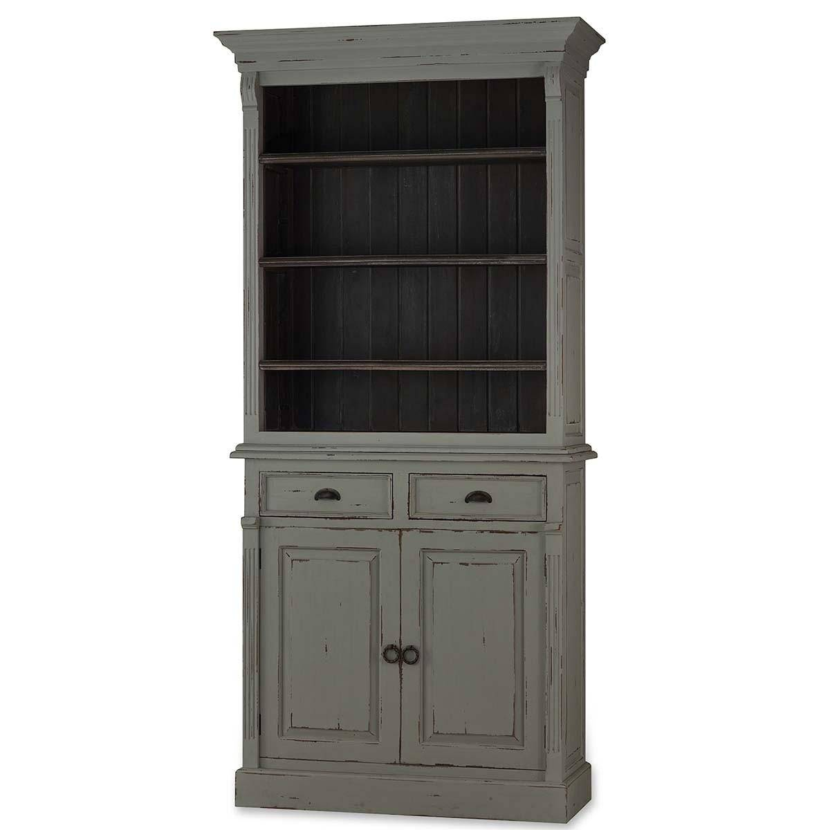 Bramble 25760 Rustic Grey Hudson Narrow Bookcase Solid Wood