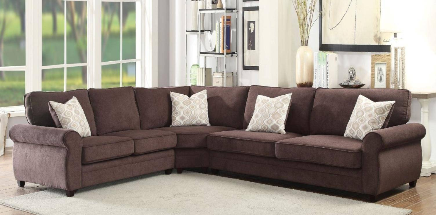 Chocolate Fabric Sectional Sofa Sleeper Acme Furniture 53375
