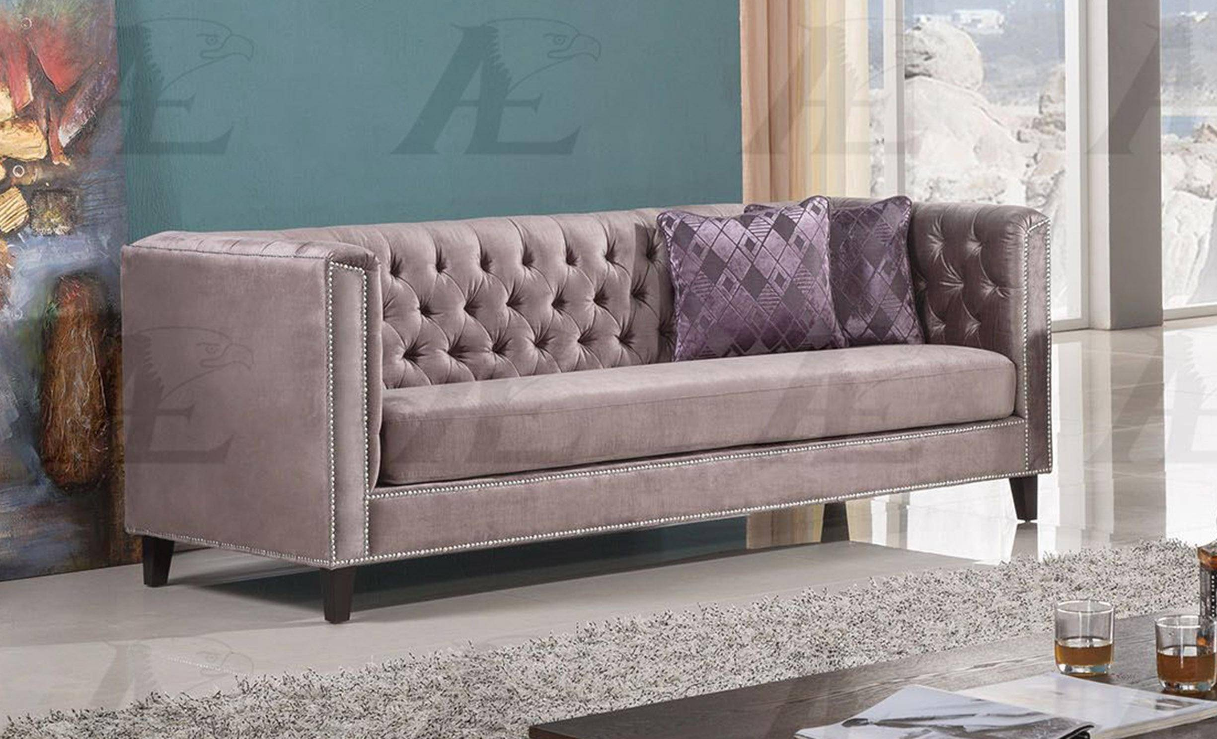American Eagle Furniture AE2373-DB Dusty Brown Silky Velvet Tufted ...