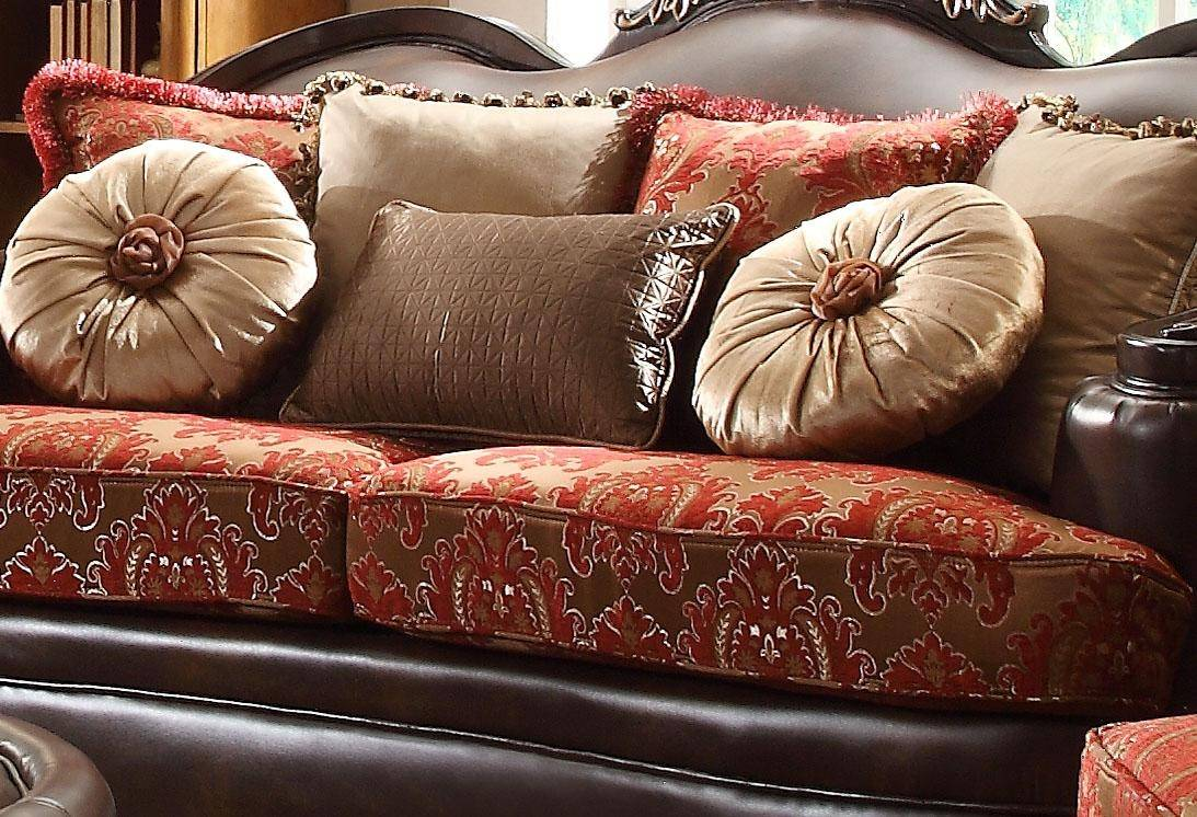 Homey Design HD-6903 Victorian Luxury Rich Brown Leather Red Mixed ...