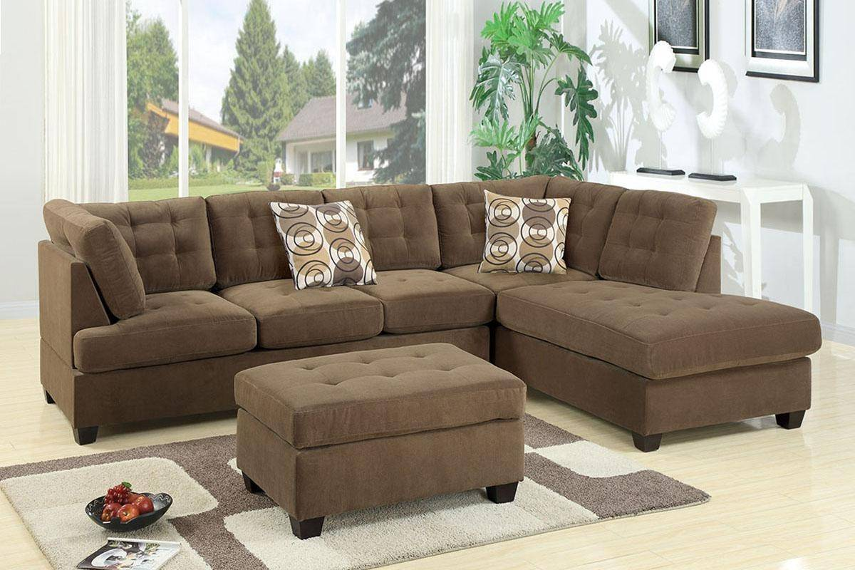 Brown Fabric Sectional Sofa F7140 Poundex Modern Contemporary