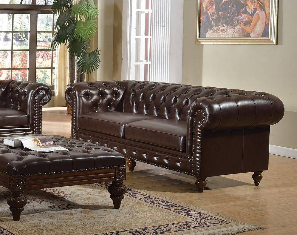 Pleasant Acme 51315 Shantoria Dark Brown Bonded Leather Deep Tufted Ncnpc Chair Design For Home Ncnpcorg