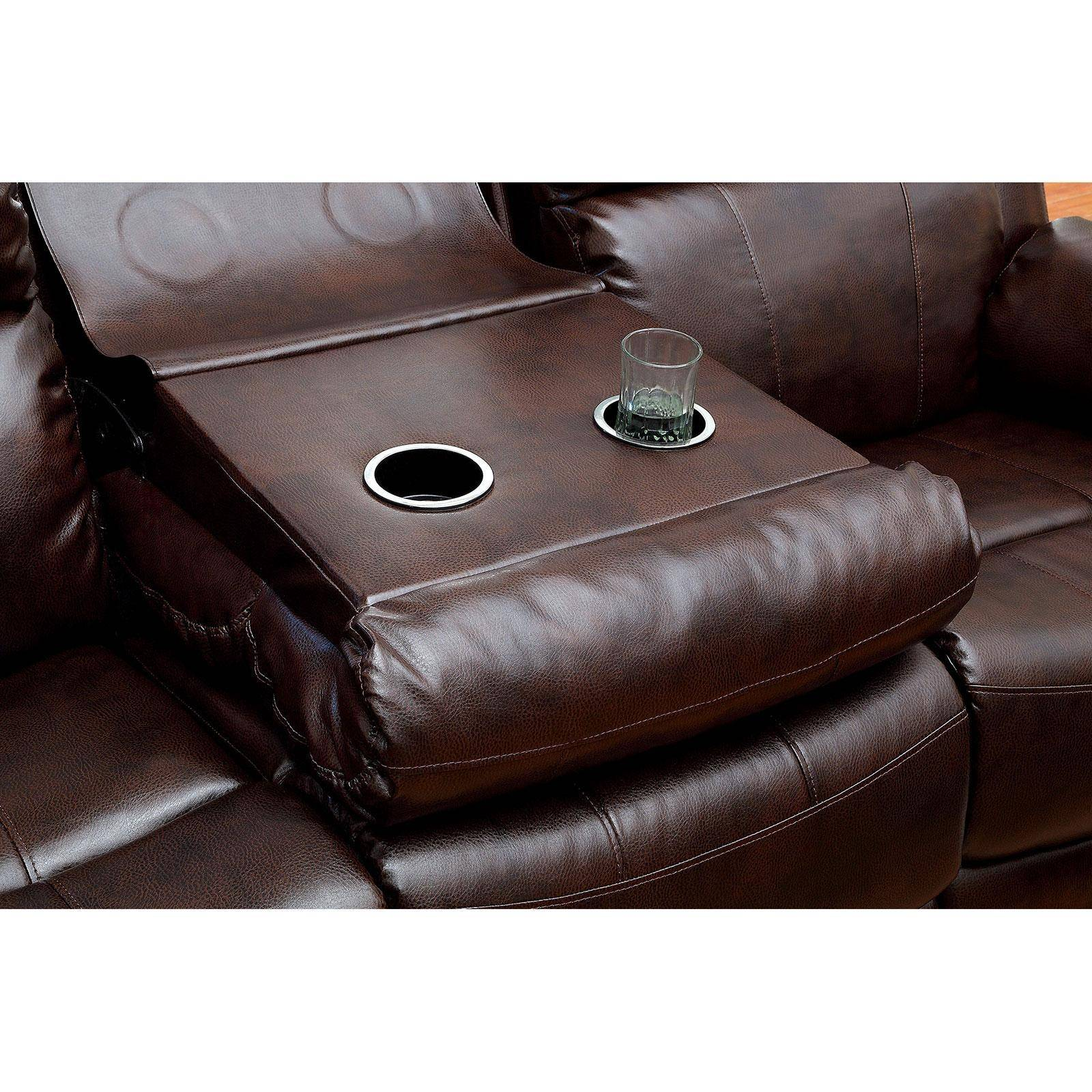 Wondrous Transitional Brown Bonded Leather Upholstery Reclining Sofa Hughes Foa Group Pdpeps Interior Chair Design Pdpepsorg